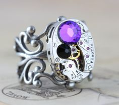 Steampunk Ring Steam Punk Jewelry Helitrope Purple Jet Back Swarovski Vintage by Inspired by Elizabeth Steampunk Rings, Steam Punk Jewelry, Swarovski, Gemstone Rings, Purple, Jet, Inspiration, Inspired, Vintage
