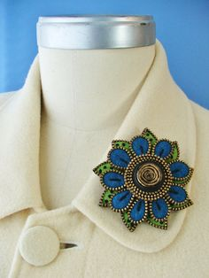 Felt and zipper  flower brooch...lime green and by woollyfabulous