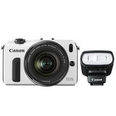 Canon EOS M Mirrorless Digital Camera with 18-55mm Lens and Flash Kit (White)