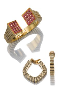 Ruby, enamel and diamond demi-parure, René Boivin | Lot | Sotheby's