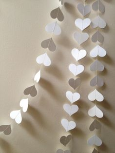 50 ft White Paper Heart Garland  valentines wedding by ccartsy, $50.00