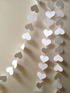 100 ft White Paper Heart Garland  valentines wedding by ccartsy, $100.00 www.genesisdiamonds.net #valentinesdaywedding #valentinesday #wedding