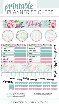 May Notes Page for Erin Condren, Silhouette, Cricut, Cut File - Design Lovely Studio #floral #notes #plannerstickers #printable #downloadable