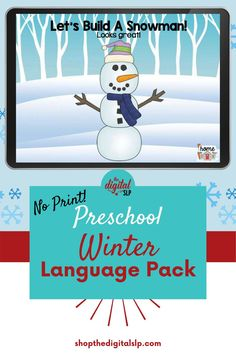 Winter themed speech and language resource for preschoolers - This No Print Winter Language savings bundle addresses pronouns, prepositions, categories, wh-questions, plural nouns, and phonemic awareness. The no print interactive PDF format makes it easy for both teletherapy and in-person speech therapy sessions. | The Digital SLP Preschool Speech Therapy, Speech Therapy Activities, Articulation Activities, Language Activities, Wh Questions, Plural Nouns, Prepositions, Phonemic Awareness, Therapy Ideas