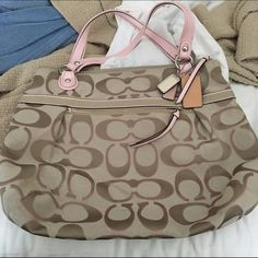 Coach bag Coach bag. Pink, brown and gold. Small water mark on back. Otherwise in good condition. Coach Bags Shoulder Bags