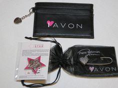 Womens Avon credit card holder lapel pin star heart pin I Love Avon NIP;; #Avon