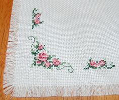 Delicate Roses Cross Stitch Mat/ Table Topper by CraftsForKids