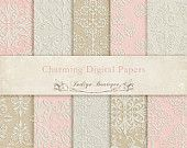 Pink Beige Vintage Digital Papers -  for Photographers, Scrapbooking and Card Making ID016. $5.59, via Etsy.