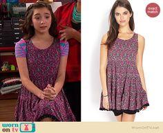Riley's pink floral dress on Girl Meets World.  Outfit Details: http://wornontv.net/36284/ #GirlMeetsWorld
