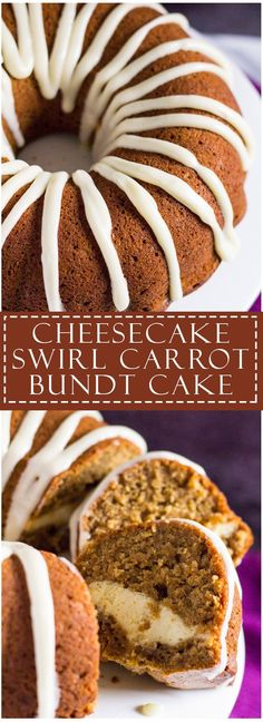Cheesecake Swirl Carrot Bundt Cake | http://marshasbakingaddiction.com /marshasbakeblog/