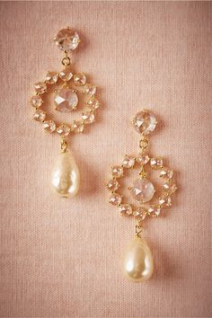 $160 - Bride - Halo Pearl Drops in Shoes & Accessories Jewelry Earrings at BHLDN