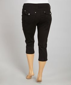 Look what I found on #zulily! 1826 Jeans Black Flap-Pocket Twill Capri Pants - Plus by 1826 Jeans #zulilyfinds