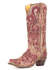 Corral Women's Brown Crater/Purple Inlay Boot - R1081  I seem to like these inlaid boots.