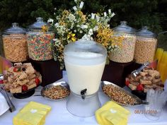 For National Cereal Day one of our clients paired this Cereal Bar with a Waffle Station for a fun brunch event- via Cru Catering! Breakfast Buffet, Wedding Breakfast, Brunch Wedding, Breakfast Ideas, Brunch Bar Ideas, Group Breakfast, Breakfast Station, Buffets, Comida Picnic