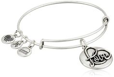 """Alex and Ani Love III Expandable Rafaelian Silver-Tone Bangle Bracelet. Expandable bangle bracelet featuring embossed coin with """"Love"""" script and three logo charms. Made in the United States."""