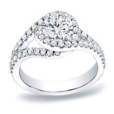 Auriya Platinum 1 1/4ct TDW Round Cut Halo Diamond Engagement Ring (H-I, SI1-SI2) (Platinum - Size 9), Women's, White