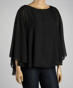 Loving this Black Cape-Sleeve Top - Plus on #zulily! #zulilyfinds