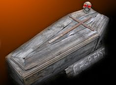 Coffin Halloween Prop in a How to build realistic, scary coffin prop. How cool if this was turned into a seating bench somehow and used for all your halloween storage after! Halloween Prop, Halloween Coffin, Halloween Graveyard, Halloween Tutorial, Halloween Party Costumes, Diy Halloween Decorations, Spooky Halloween, Halloween Treats, Halloween Universal