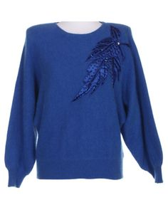 80s Blue Embellished Angora & Lambswool Knit Jumper