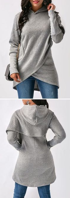 54 Surprisingly Cute Outfit Ideas That Always Look Great – Grey Asymmetric Hem Long Sleeve Hoodie. Mode Style, Style Me, Fall Outfits, Casual Outfits, Holiday Outfits, Classy Outfits, Look Fashion, Fashion Outfits, Womens Fashion