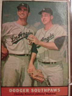 1961 Topps.  Dodger Southpaws . Sandy Koufax