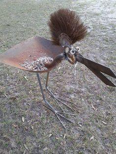 Big Haired Bird bird feeder. Rusty Relics Metal Art