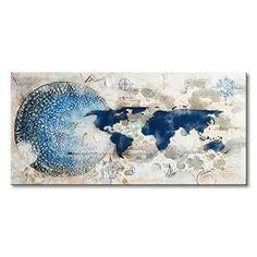 Everfun Handmade Oil Painting on Canvas Abstract Texture Earth Pictures Blue and White Artwork Modern World Map Art Wall Decor Ready to Hang * You can get additional details at the image link. (This is an affiliate link)