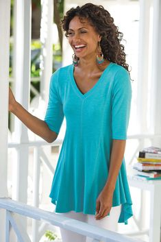 Our Perfect A-Line Top has godets to create shape and drape in a softly textured jersey knit.