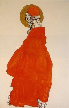 egon schiele standing figure with halo - oil-paintings.biz