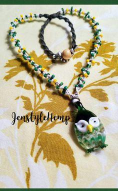 Owl Glass Pendant Beaded Hemp Necklace by Jenstylehemp on Etsy