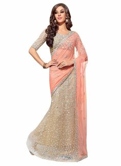9f0bf003d5d06 Pink Gold Party Wedding Sleeveless Sari Saree -- fits Women's 14 38C, WORN  ONCE