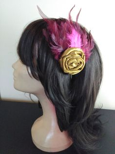 Bridal Accessory, Wedding Fascinaor, 1920 fashion Hedpiece on gold rosette…