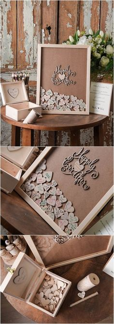 Top 12 Rustic Wedding Guest Books & Botanical Wedding Invitations Rustic Laser Cut Wood Wedding Guest Book- Happy Ever After / www. Unique Weddings, Trendy Wedding, Diy Wedding, Dream Wedding, Wedding Day, Wedding Book, Wedding Vintage, Shadow Box Wedding, Wedding After Party