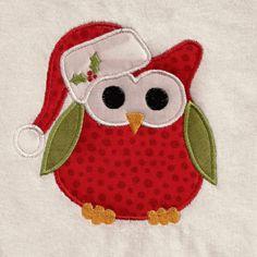 Free Embroidery Design: Christmas Owl - I Sew Free love owls. Christmas Applique, Christmas Owls, Christmas Sewing, Christmas Embroidery, Christmas Decor, Xmas, Machine Embroidery Projects, Machine Embroidery Applique, Free Machine Embroidery Designs