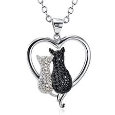 "Two-tone 925 Sterling Silver Black and White Crystal Couple Cat Love Pendant Necklace, 18"" SILVER MOUNTAIN http://smile.amazon.com/dp/B01AKZH2PU/ref=cm_sw_r_pi_dp_wKSQwb00F3THK"