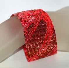 Peyote Cuff Bracelet Shades of Red Monochromatic Woman Gift Mothers Day Cranberry Scarlet July Birthday Birthstone Bright Seed Bead Bracelets, Seed Bead Jewelry, Beaded Jewelry, Cuff Bracelets, Bracelets Design, Different Shades Of Red, Bead Crochet, Girly Girl, Bracelets