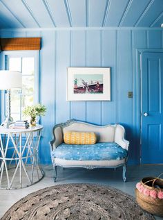 pop of yellow on blue!