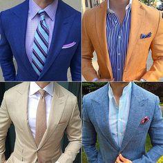 Which men's look you feeling? #mensfashion Mens Fashion Suits, Mens Suits, Men's Fashion, Beige Suits, Dapper Men, Men Looks, Dress Up, Suit Jacket, Menswear