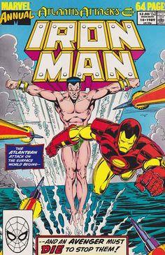 Iron Man Annual F Marvel comic 1989 Sub-Mariner Iron Man Comic Books, Marvel Comic Books, Comic Books Art, Marvel Characters, Book Cover Art, Comic Book Covers, Dc Universe, Caricature, Sub Mariner