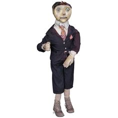 View this item and discover similar for sale at - The early ventriloquist figure has a carved wood head with articulated mouth and great painted surface. The moveable arm has well carved hands in different Ventriloquist Puppets, Knuckle Head, Effigy, Suit And Tie, Well Dressed, Folk Art, Carving, Carved Wood, Primitives