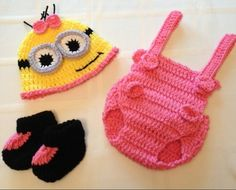 Baby Girl Minion Outfit/Set (Pink) w/ Hat, Overalls, and Booties newborn 0-3 months on Etsy, $30.00