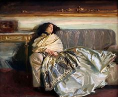 "John Singer Sargent   Nonchaloir (Repose), 1911   -American""portrait"" artist   -Edwardian Era    -Very well known for his watercolors    -Master of color and illuminating light    -Exaggerated colors"