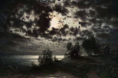 Moonlight Landscape - Kuutamomaisema 1879, Fanny Churberg (1845-1892) - Churberg oli Vaasalaisen lääkärin Matias Christian Churbergin ja hänen vaimonsa Maria Ulrika Peranderin seitsenlapsisen perheen kolmas lapsi.Neljä hänen sisaruksistaan oli kuollut jo lapsina,äiti oli kuollut 1858 ja isä kuoli 1865,kun Churberg oli 20-vuotias. Fanny ja hänen kaksi veljeään muuttivat Helsinkiin tätinsä luokse.Isänsä kuoltua Fanny oli perinnön ansiosta taloudellisesti riippumaton.