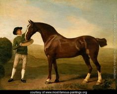 Groom feeding a bay hunter in a landscape - George Stubbs - www.most-famous-paintings.org