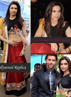 Red And Maroon Deepika Padukone Georgette Lehenga Choli