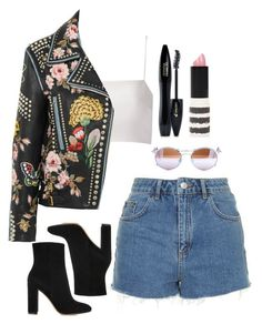 """""""Untitled #319"""" by lindsjayne ❤ liked on Polyvore featuring Topshop, Giuliana Romanno, Gucci, Gianvito Rossi and Lancôme"""