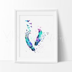 Birds & Feathers Watercolor Art Print from www.vivideditions.com. Saved to Quick Saves. #beauty.