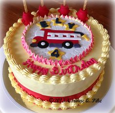 Fire Engine Birthday Cake (with fire hydrant candle holders) | Shared by LION