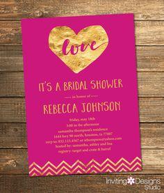 Gold and Fuchsia Pink Bridal Shower Invitation, Gold, Hot Pink, Foil, Love, Chevron, Heart, Wedding Shower Invite (PRINTABLE FILE) by InvitingDesignStudio on Etsy