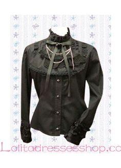 Black Lace Trim Cotton Stand Collar Long Sleeve Lolita Blouse